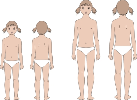 proportions: Vector illustration of girl-childs figure. Change in proportions: 5 and 10 years. Front and back views