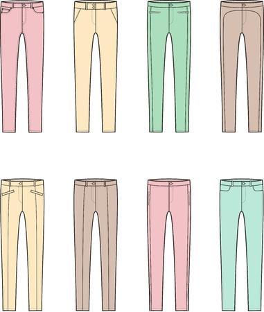 pocket size: Vector illustration. Set of womens skinny pants Illustration