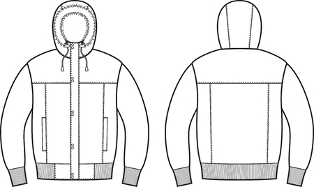 fur hood: Vector illustration of winter down jacket. Front and back views Illustration
