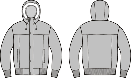 Vector illustration of winter down jacket. Front and back views Vector