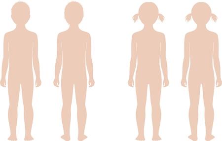 5 年間の年齢で子供のシルエットのベクトル イラスト。前面図と背面図