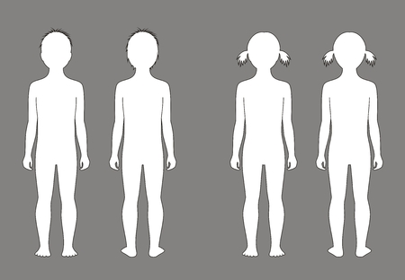Ilustración del vector de la silueta del niño a la edad de 5 años. Vistas frontales y traseros