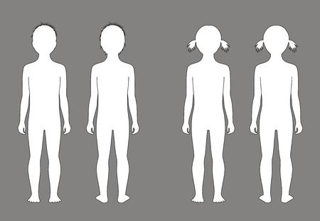 silueta niño: Ilustración del vector de la silueta del niño a la edad de 5 años. Vistas frontales y traseros