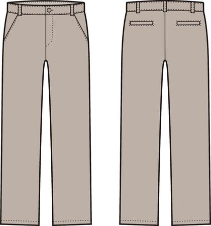 Ilustracji wektorowych z mens zimowych dół spodnie. Widoki z przodu iz tyłu