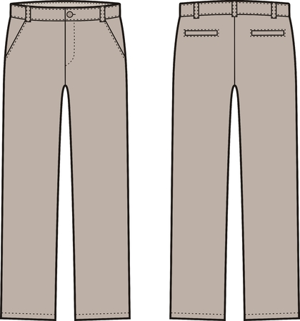 pocket size: Vector illustration of mens winter down pants. Front and back views