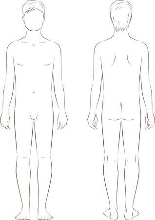 outlinear: Ilustración del vector de los adolescentes varones figura a la edad de 15 años. Vistas frontales y traseros