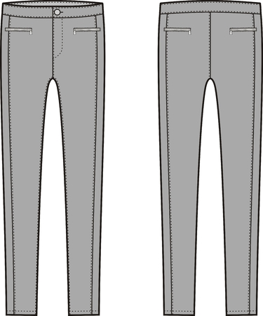pocket size: Vector illustration of womens skinny pants. Front and back views