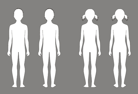 Illustration de la silhouette de l'enfant à l'âge de 10 ans. Vues avant et arrière Banque d'images - 39671304