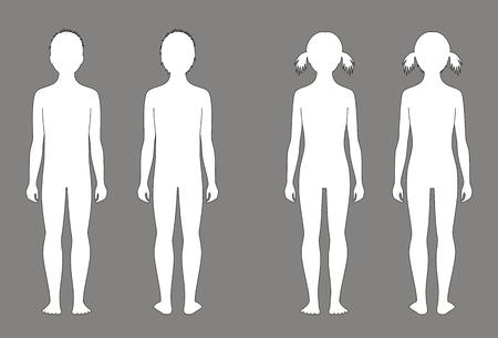 bocetos de personas: ilustración de la silueta del niño a la edad de 10 años. Vistas frontales y traseros