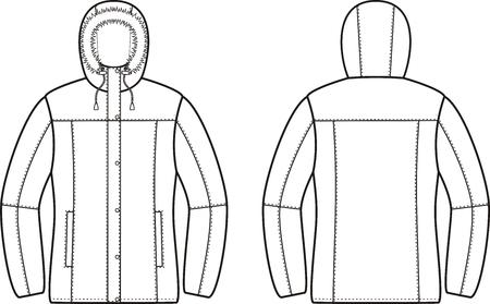 pocket size: illustration of winter down jacket. Front and back views Illustration