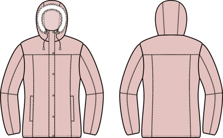 pocket size: illustration of winter down jacket. Front and back views Illustration