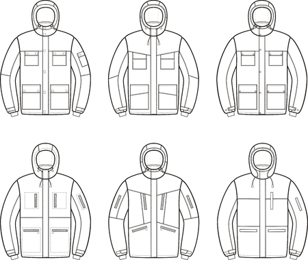 pocket size: illustration of winter work jacket. Coveralls