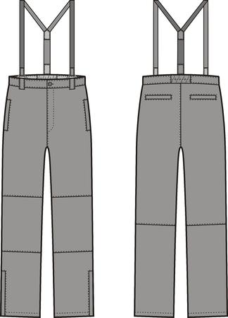back belt: ilustraci�n de pantalones de trabajo de invierno con tirantes. Vista frontal y espalda. Mono