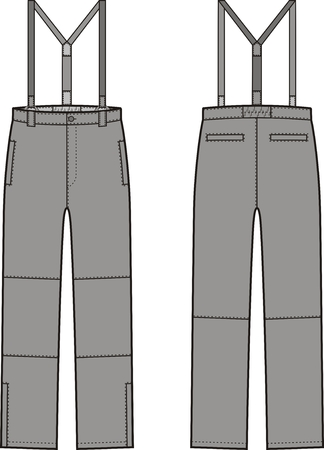 illustration of winter work pants with braces. Front and back views. Coveralls Illustration
