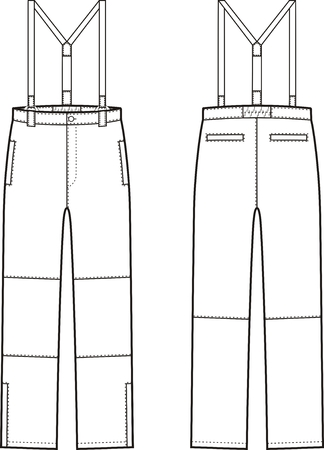 pocket size: illustration of winter work pants with braces. Front and back views. Coveralls Illustration