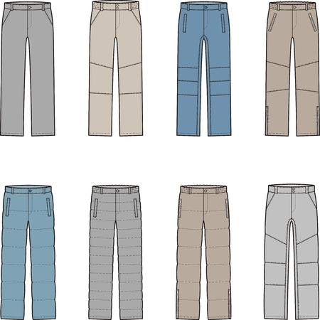 quilted fabric: Vector illustration of mens winter down pants Illustration