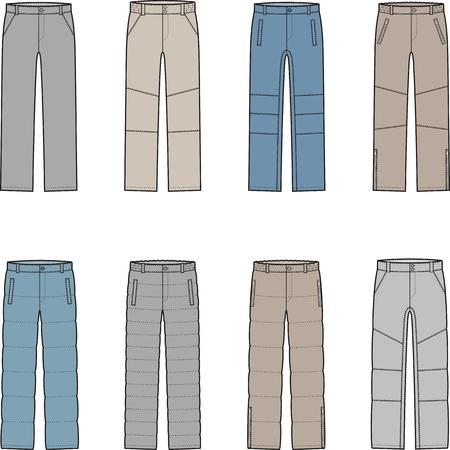 pants down: Vector illustration of mens winter down pants Illustration