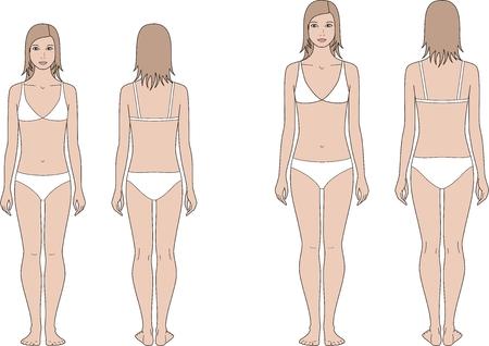 enfant maillot de bain: Vector illustration des adolescents figure féminine. 12 et 15 ans. Vues avant et arrière