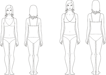 Vector illustration of female teenagers figure. 12 and 15 years. Front and back views