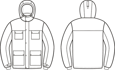 coveralls: Vector illustration of winter work hooded jacket. Front and back views. Coveralls