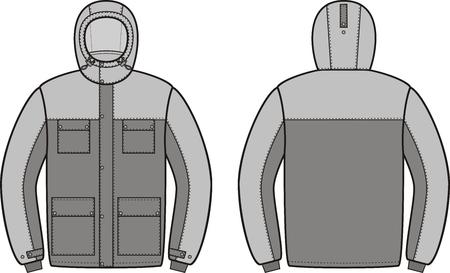 encapuchado: Ilustraci�n vectorial de trabajo de invierno chaqueta con capucha. Vista frontal y espalda. Mono