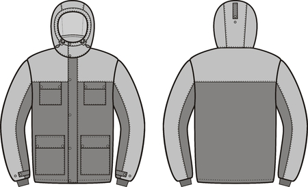 winter vector: Vector illustration of winter work hooded jacket. Front and back views. Coveralls