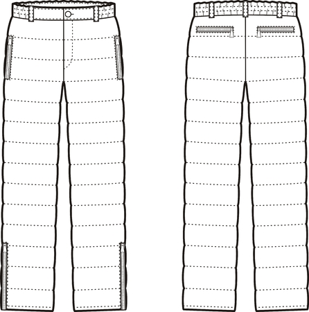pocket size: Vector illustration of womens winter quilted down pants. Front and back views Illustration