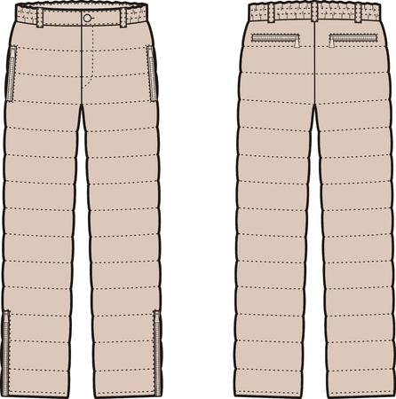 pantalones abajo: Ilustración vectorial de mujer de invierno acolchado pantalones abajo. Vistas frontales y traseros