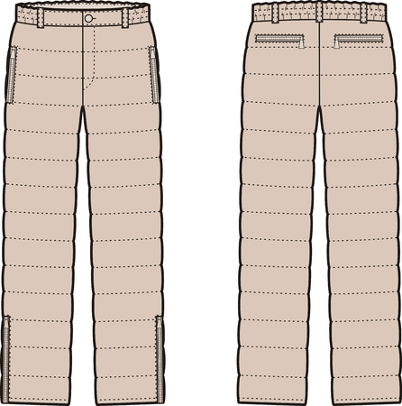 back belt: Vector illustration of womens winter quilted down pants. Front and back views Illustration