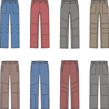 pocket size: Vector illustration of winter work pants. Coveralls Illustration