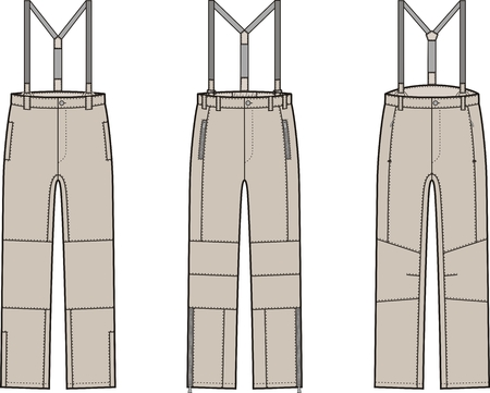 suspender: Vector illustration of winter work pants with braces
