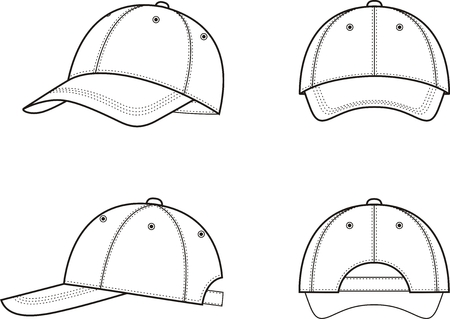 Vector illustration of a baseball cap from different views