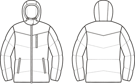 pocket size: Vector illustration of winter quilted down jacket. Front and back views