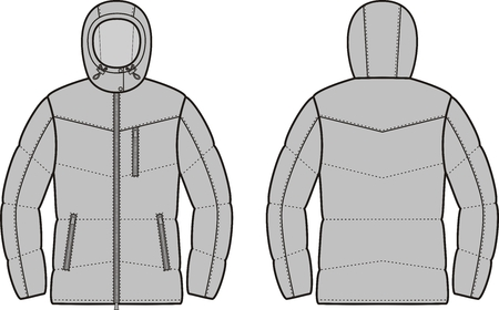 quilted: Vector illustration of winter quilted down jacket. Front and back views