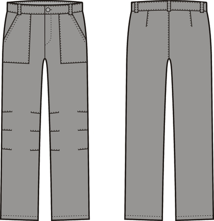 pocket size: Vector illustration of winter work pants. Front and back views. Coveralls