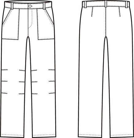 Vector illustration of winter work pants. Front and back views. Coveralls