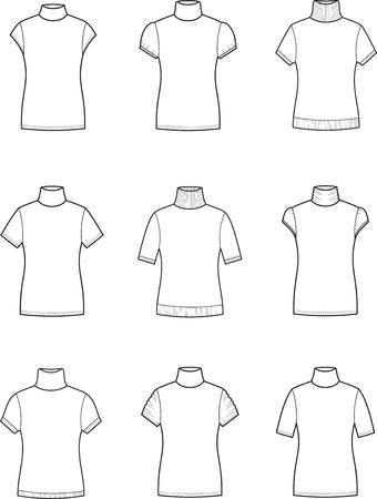 turtleneck: Vector illustration. Set of womens short-sleeve turtleneck