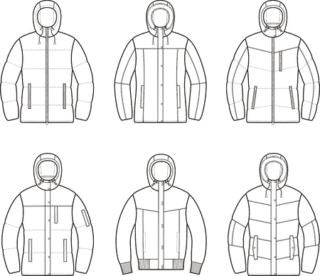 fur hood: Vector illustration of womens winter down jackets