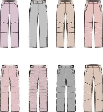 pantalones abajo: Ilustración vectorial de mujer invierno abajo pantalones