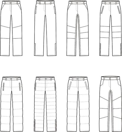 pantalones abajo: Ilustraci�n vectorial de mujer invierno abajo pantalones