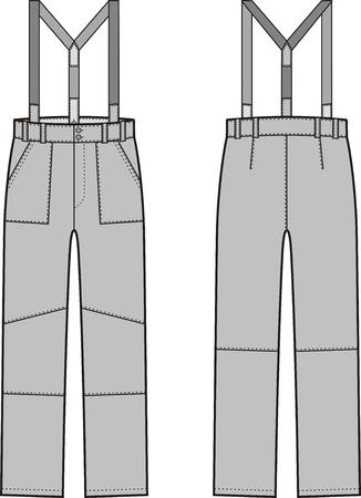 back belt: Ilustraci�n vectorial de pantalones de trabajo de invierno con tirantes. Vista frontal y espalda. Mono