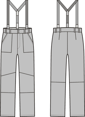 suspender: Vector illustration of winter work pants with braces. Front and back views. Coveralls