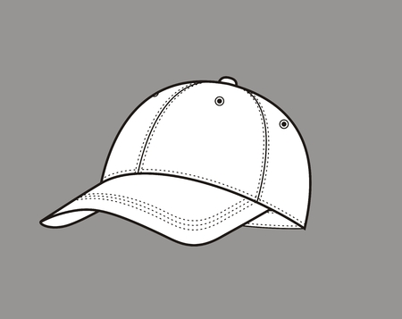 caps: Vector illustration of a baseball cap on grey background
