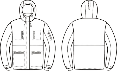 warm clothing: Vector illustration of winter work hooded jacket. Front and back views. Coveralls