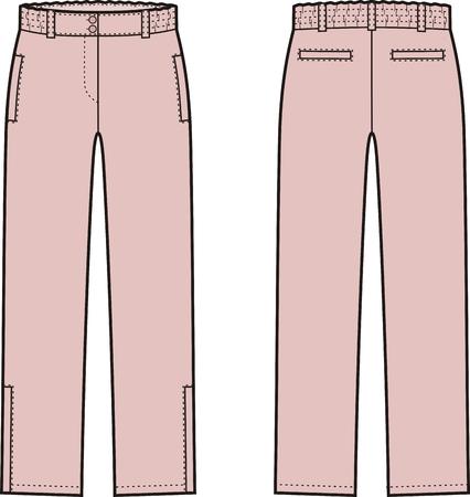 pantalones abajo: Ilustración vectorial de la mujer pantalones de invierno hacia abajo. Vistas frontales y traseros