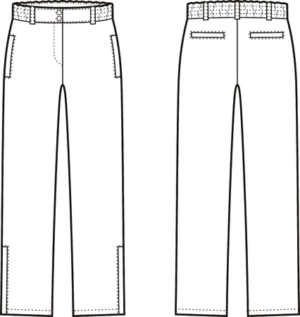 size: Vector illustration of womens winter down pants. Front and back views Illustration