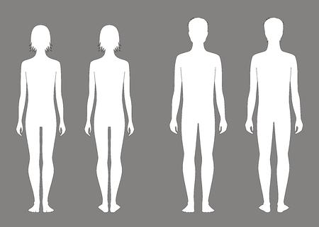 silueta humana: Ilustración vectorial de adolescentes masculinos y femeninos figura a la edad de 12 años. Vistas frontales y traseros