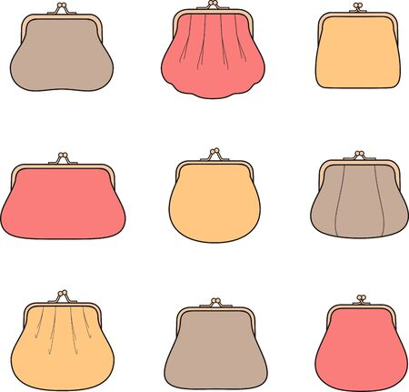 coin purses: Vector illustration. Set of womens purses. Different models Illustration
