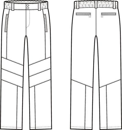 back belt: Ilustraci�n vectorial de pantalones de trabajo de invierno. Vista frontal y espalda. Mono Vectores