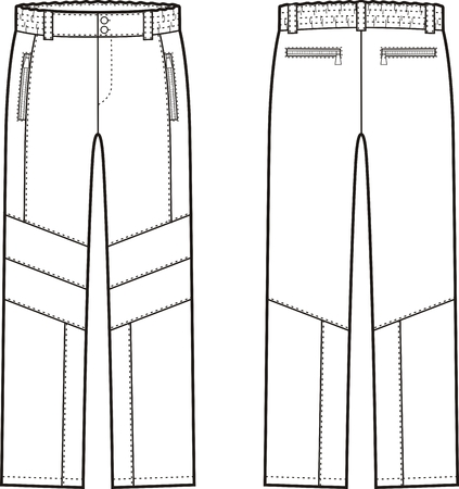 overall: Vector illustration of winter work pants. Front and back views. Coveralls